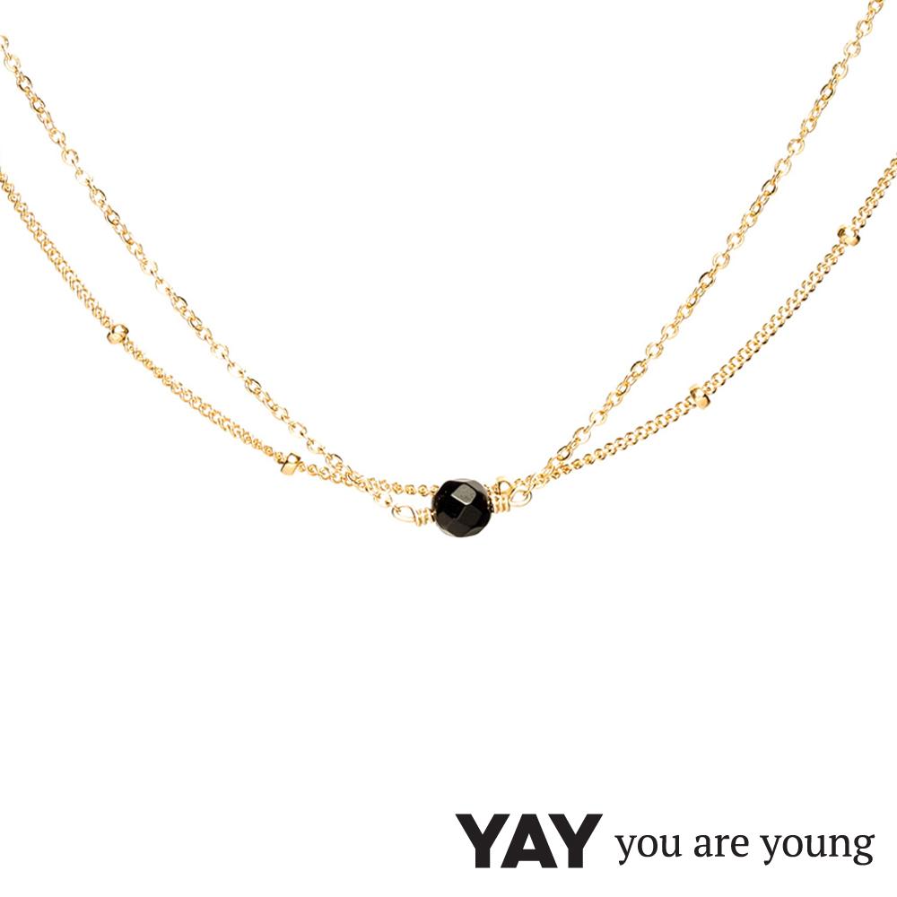 YAY You Are Young 法國品牌 Stella 黑曜石項鍊 金色