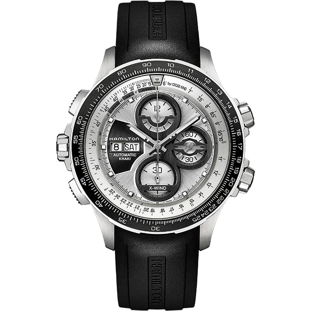 Hamilton KHAKI AVIATION 限量運動機械腕錶-銀x黑/45mm