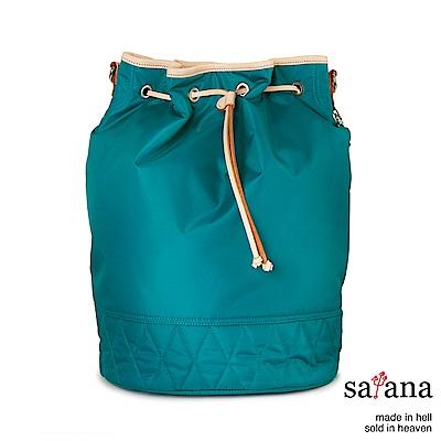 satana - 929 Ladies 復刻風尚 拉繩束口3Way水桶包 - 水鴨綠