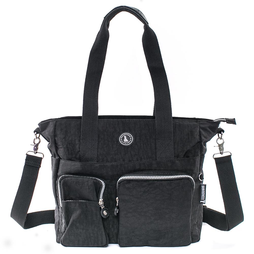 B.S.D.S冰山袋鼠-休閒防水輕盈大容量肩側兩用包-黑色