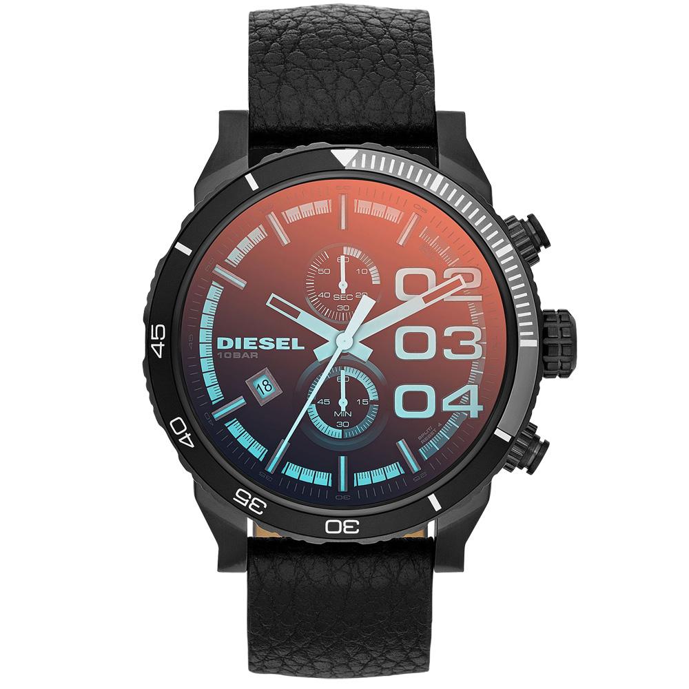 DIESEL 雙眼時尚日期腕錶(皮帶-黑)/51mm
