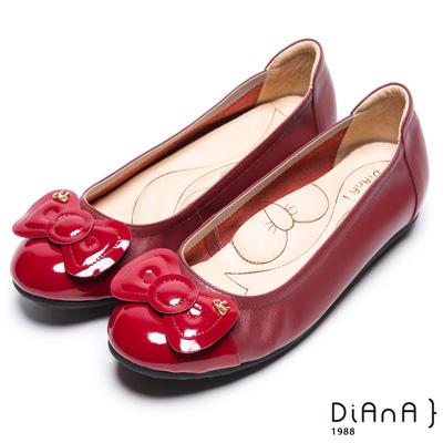 DIANA 漫步雲端蝴蝶結款--俏麗蝴蝶結真皮娃娃鞋-紅