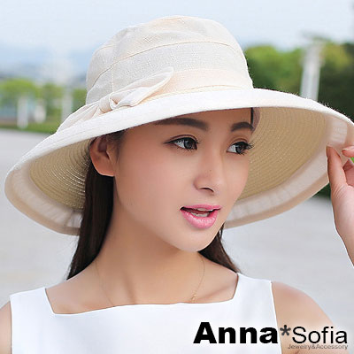 AnnaSofia-絮布拼接草編-防曬遮陽寬簷遮陽