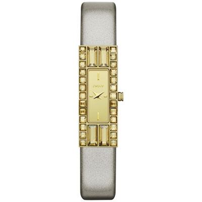 DKNY 延展時尚晶鑽都會仕女腕錶-皮帶-鏡面金/40mm