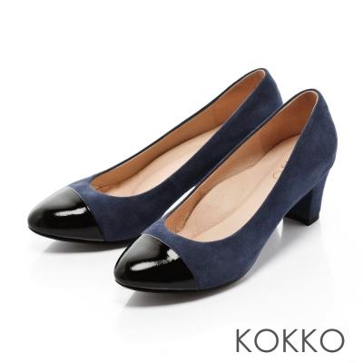 KOKKO-圓舞曲雙色拼接真皮粗跟鞋-藍黑