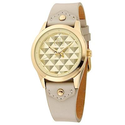 ELLE  立體菱格紋無時標皮革腕錶-米色/金色-35mm