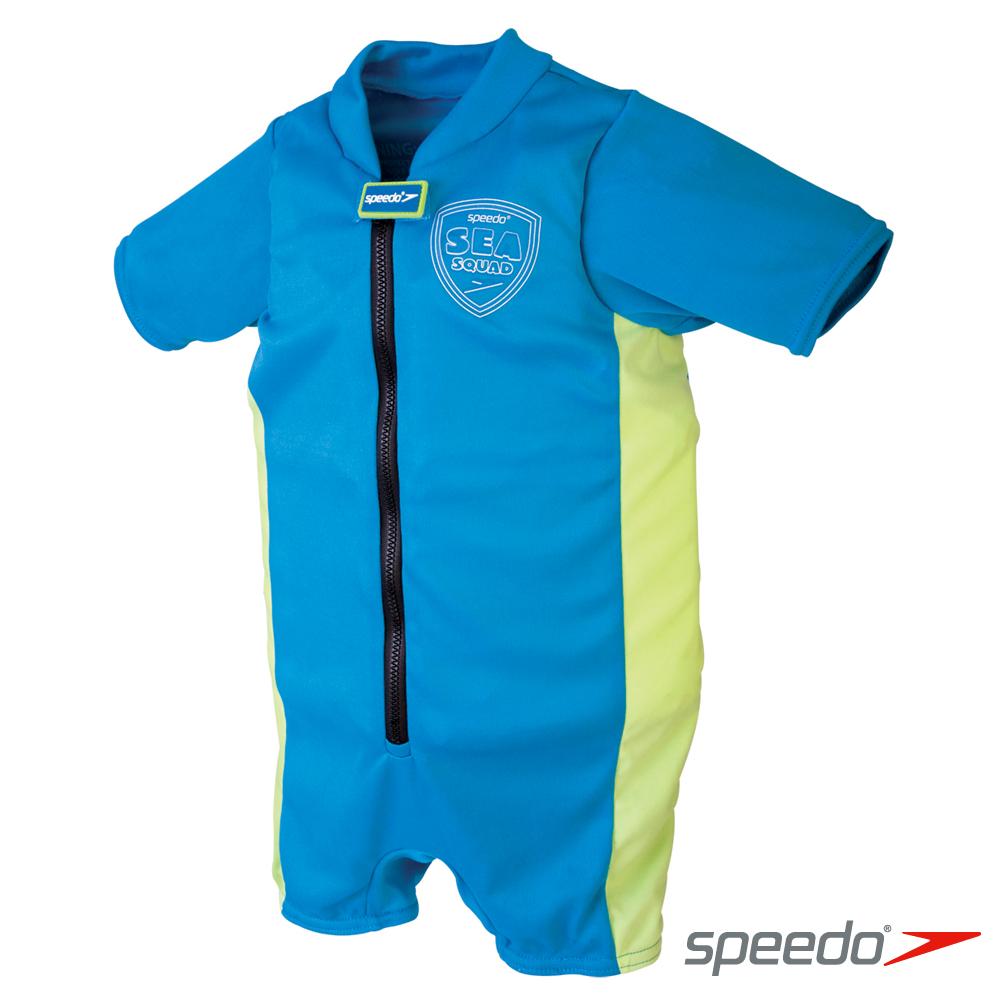【Speedo】兒童 整件式浮力衣Sea Squad 藍-綠