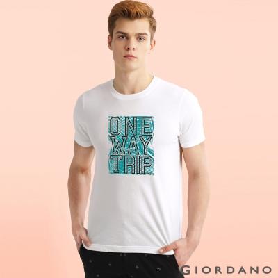 GIORDANO 男裝趣味圖案字母印花純棉修身短袖T恤-65旅行白