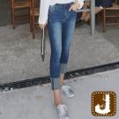 正韓  刷色貼腿折管顯瘦窄管-(藍色)100%Korea Jeans