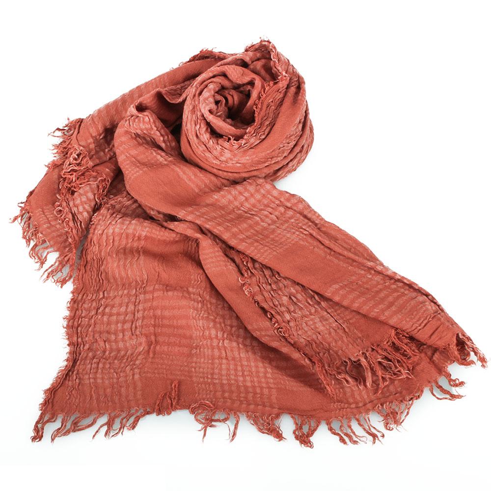ARMANI COLLEZIONI 經典格紋皺褶圍巾-磚橘色