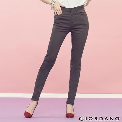 GIORDANO-女裝中腰輕磨毛修身窄腳褲-18冷灰