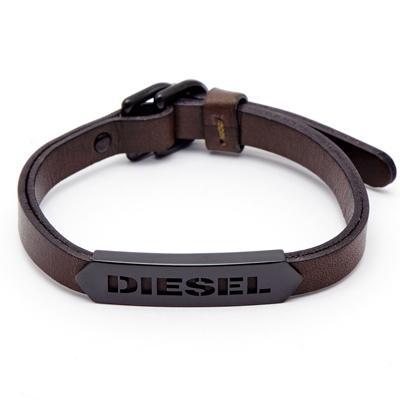 DIESEL 懷舊深褐色LOGO皮革手環