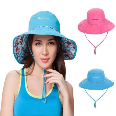 PUSH! 戶外登山休閒用品透氣快乾抗紫外線UPF50+遮陽帽沙灘帽雙面帽子女