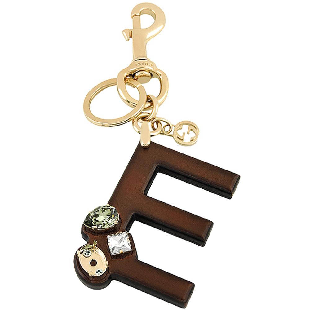 GUCCI 字母「E」水晶鑲嵌鑰匙圈(展示品)