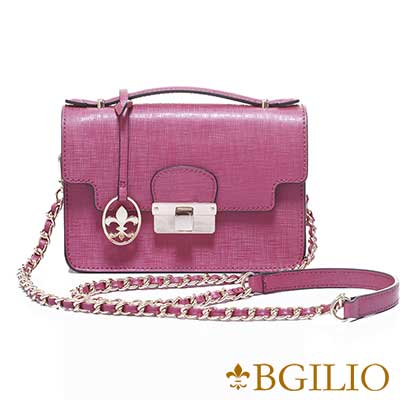 義大利BGilio-十字紋牛皮氣質金扣小包-桃紅1946.001-14