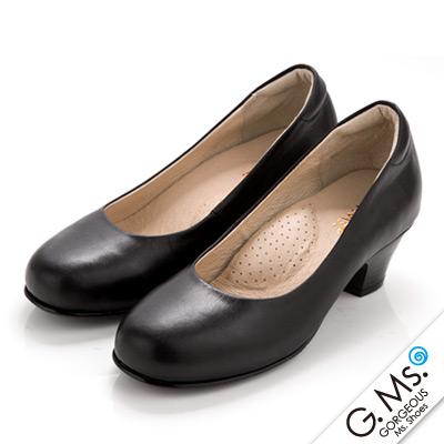 【G.Ms.】MIT系列‧通勤必備全真皮素面小粗跟鞋‧實搭黑