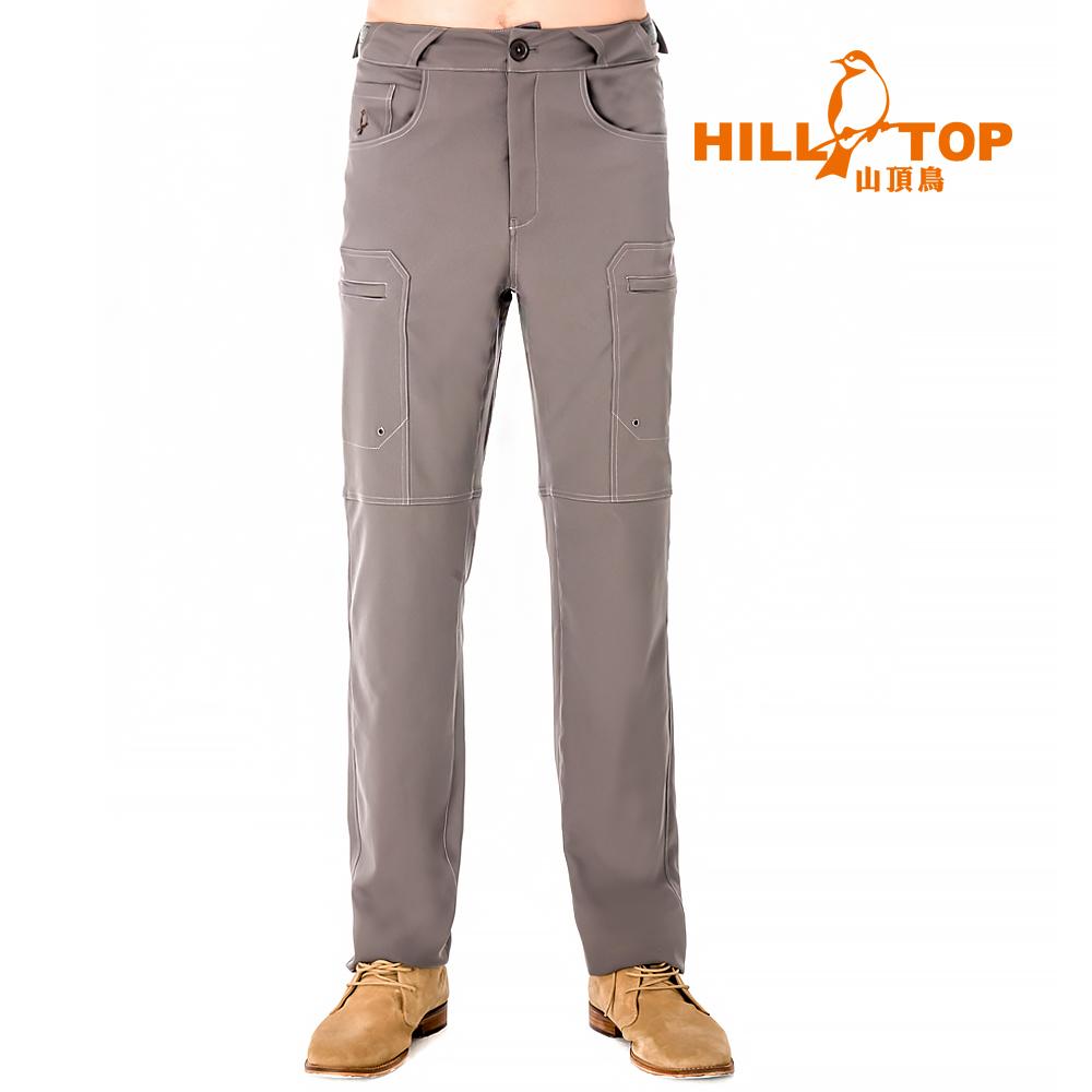 【hilltop山頂鳥】男款吸濕排汗抗UV彈性長褲S07MB3-咖啡