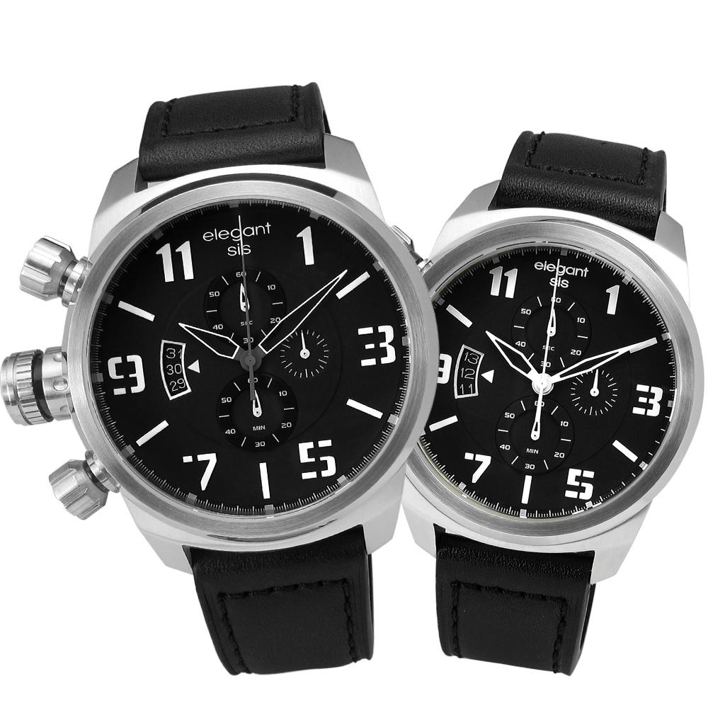 elegantsis 完美狙擊硬派軍事風皮革對錶-黑x銀/42+47mm
