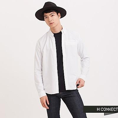 H:CONNECT 韓國品牌 男裝 - 基本純色口袋襯衫 - 白