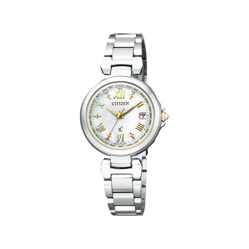 CITIZEN XC 羅馬戀曲光動能電波腕錶(EC1035-56W)-珍珠貝x銀/28mm @ Y!購物