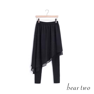 beartwo-雪紡橫紋假兩件式內搭褲裙-黑色