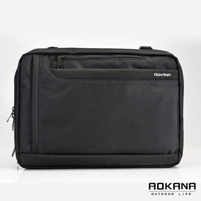 AOKANA奧卡納 - MIT 防潑水多隔層三用電腦公事後背包 02 - 008 - 黑
