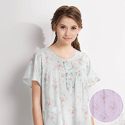羅絲美睡衣-晨曦花園短袖洋裝睡衣(櫻花粉)