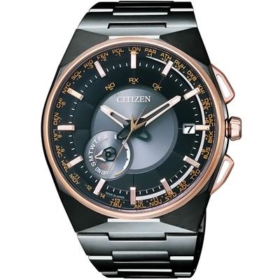 CITIZEN 光動能衛星對時世界時間鈦金腕錶(CC2004-59E)-黑/44mm