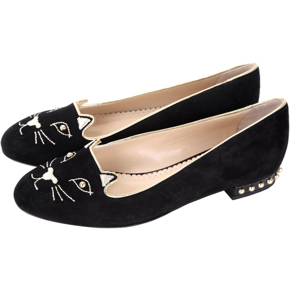 Charlotte Olympia Kitty Studs 貓咪鉚釘平底鞋(黑)