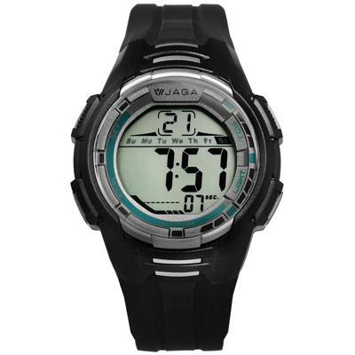 JAGA 捷卡 電子液晶冷光照明計時碼錶鬧鈴運動橡膠手錶-黑灰色/44mm