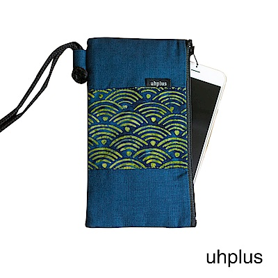 uhplus 和風紋柄手機袋-青海波(藍)