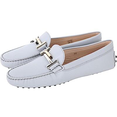 TOD'S Double T 雙色金屬設計豆豆休閒鞋(女鞋/淺灰色)
