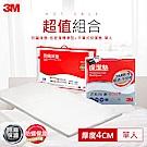 3M 100%防蹣床墊低密度標準型+平單式保潔墊單人