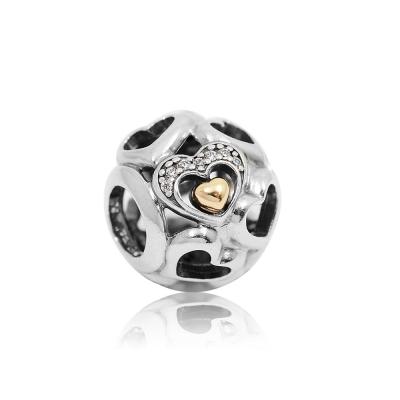 Pandora 潘朵拉 圓形鏤空浪漫之心鍍K金 純銀墜飾 串珠