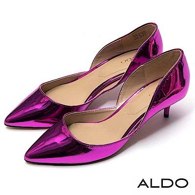 ALDO 原色亮面波浪鏤空造型細高跟鞋~戀愛亮粉