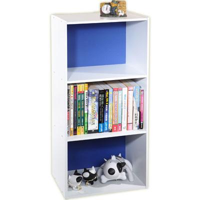 米蘭DIY三格收納櫃書櫃藍白