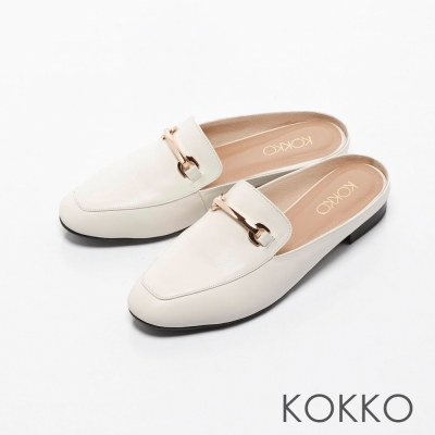 KOKKO-復刻精典金屬鍊方頭平底穆勒鞋-白