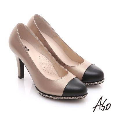 A.S.O 優雅時尚 珠光真皮雙色鍊帶高跟鞋 卡其