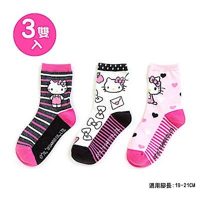 Sanrio HELLO KITTY 3入兒童短襪19-21cm(蝴蝶結)