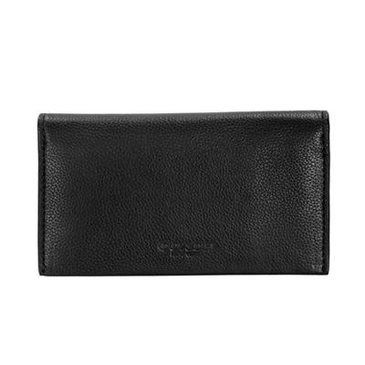 COACH黑色全皮對開雙摺手機袋中夾