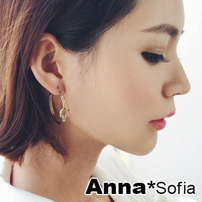 【3件5折】AnnaSofia 雙線情人結 C圈耳針耳環(金系)