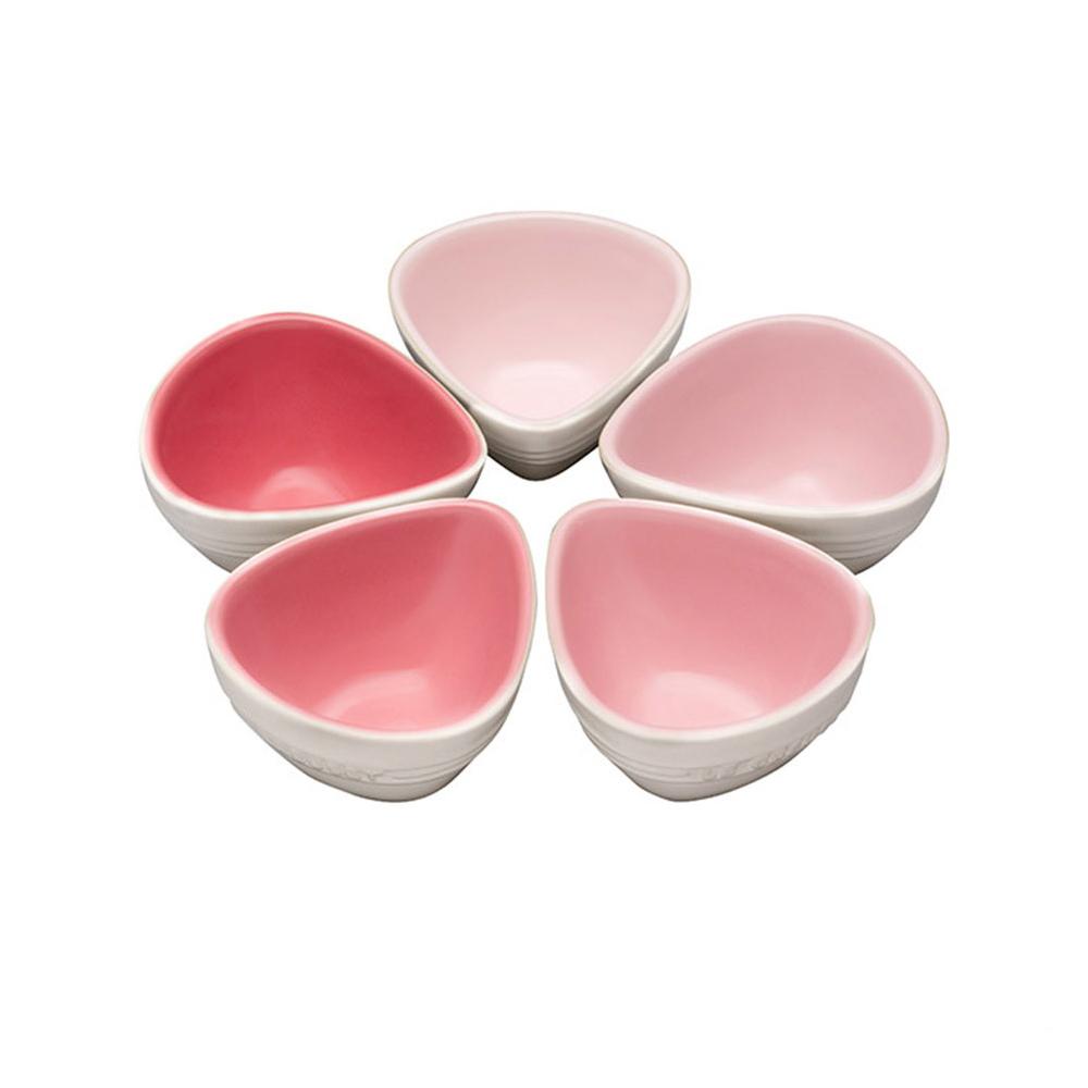 LE CREUSET 瓷器花瓣點心盤(粉紅) 5入