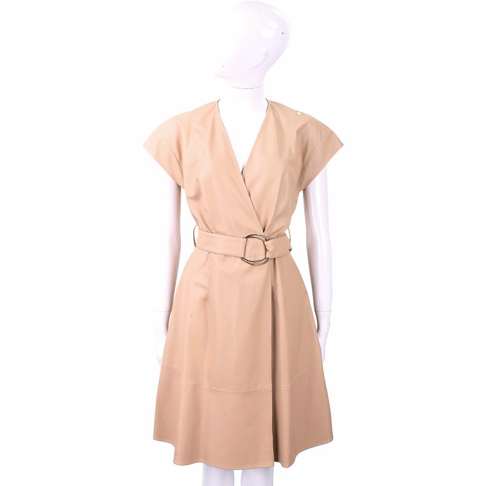 ELISABETTA FRANCHI 交叉領金屬環細節駝色落肩仿皮洋裝