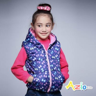 Azio Kids 童裝-鋪棉背心 搖粒絨蝴蝶結拉鍊連帽背心(丈青)