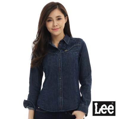 Lee 牛仔修身長袖襯衫/101+-女款-藍色