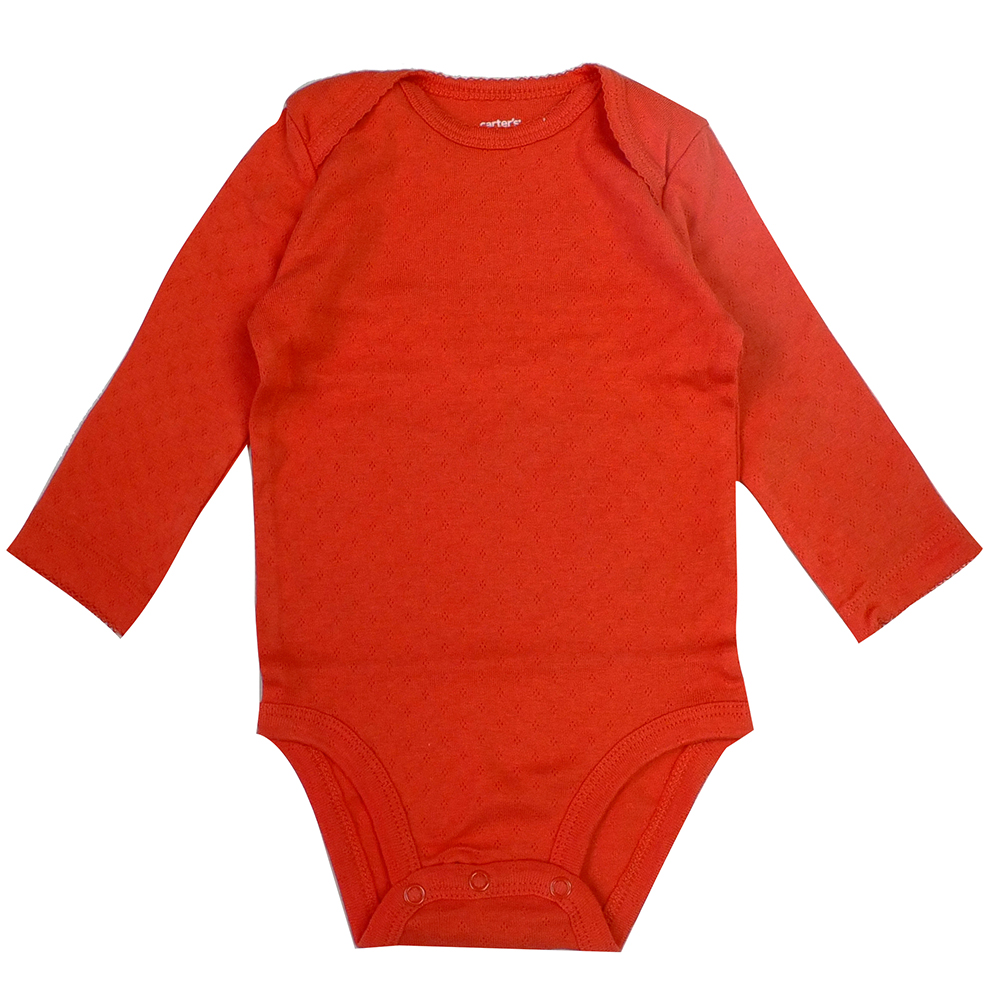 Carters橘色長袖包屁衣