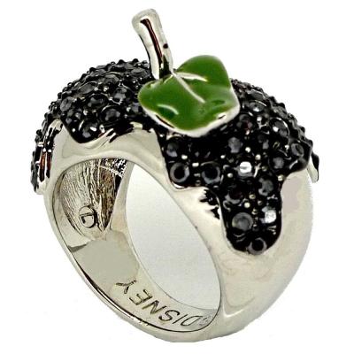 迪士尼 DISNEY COUTURE 白雪公主 黑蘋果戒指 綠葉水晶銀色款