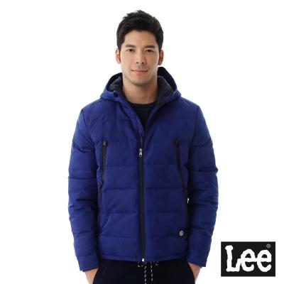 Lee 連帽羽絨外套80%羽絨 UR-男款-藍色