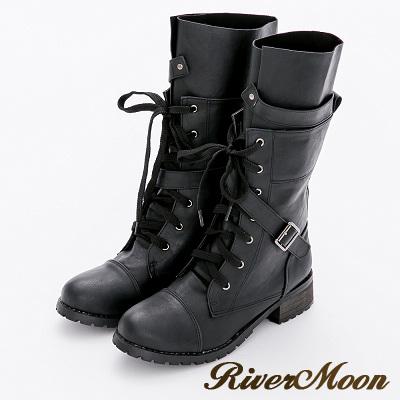 River&Moon加大尺碼-歐美綁帶騎士皮革中筒軍靴