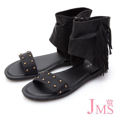 JMS-美式風格自然抓皺側流蘇羅馬涼鞋-黑色